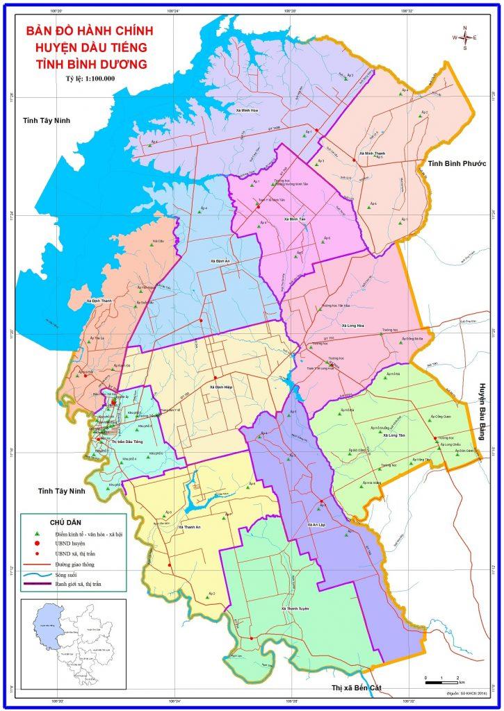 bản đồ hành chính huyện dầu tiếng bình dương