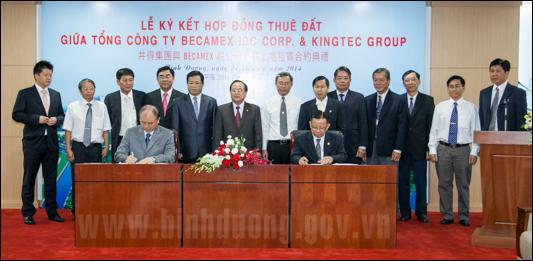 Tổng công ty Becamex IDC và Tập đoàn Kingtec ký hợp đồng thuê đất ở Mỹ Phước 3