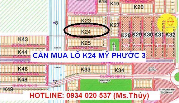 Cần mua lô K24 Mỹ Phước 3 cọc tiền trong ngày
