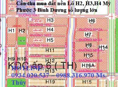 Cần thu mua đất nền Lô H2, H3,H4 Mỹ Phước 3 Bình Dương số lượng lớn
