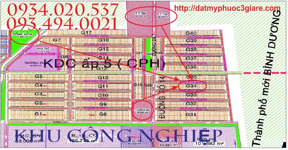 Vị trí Lô G34 Mỹ Phước 3, lo g34 my phuoc 3