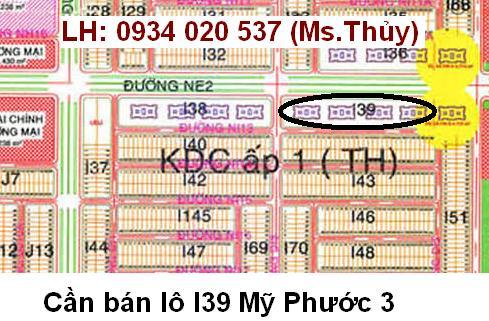 Cần bán lô I39 Mỹ Phước 3 giá rẻ, pháp lý, giấy tờ đầy đủ