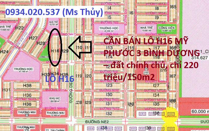 Cần bán lô H16 Mỹ Phước 3