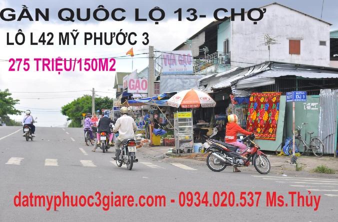 Chính chủ bán Lô L42 Mỹ Phước 3 thuộc khu đông dân cư hiện hữu, gần cổng