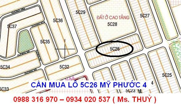 Mua giá cao lô 5C26 Mỹ Phước 4 mặt tiền đường 16m