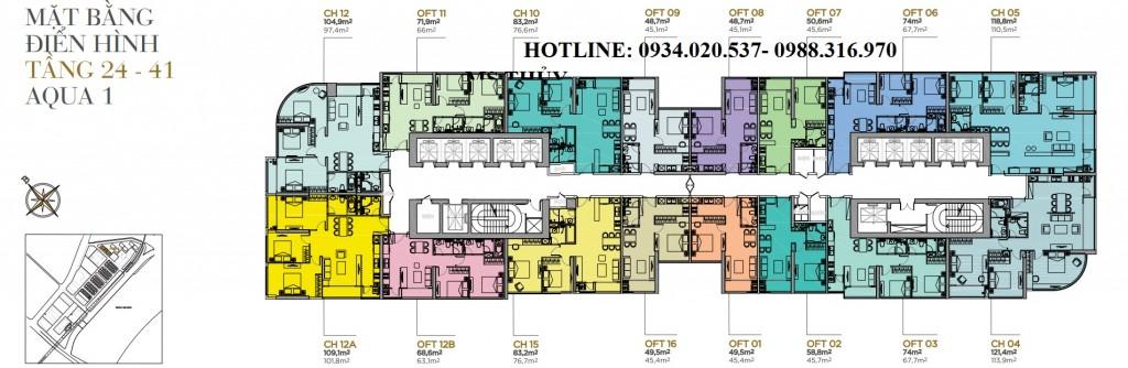 Mặt bằng tầng điển hình tòa căn hô Aqua 1