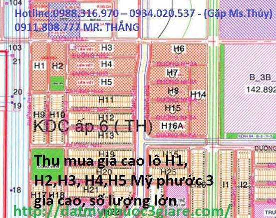 Thu mua giá cao lô H1, H2,H3, H4,H5 Mỹ phước 3 giá cao, số lượng lớn