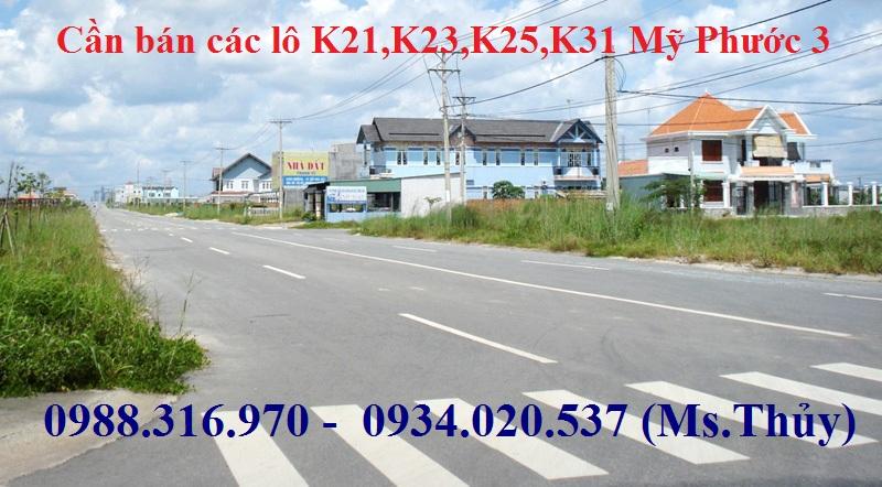 Thanh lý các lô K21,K23,K25,K31 Mỹ Phước 3 giá rẻ