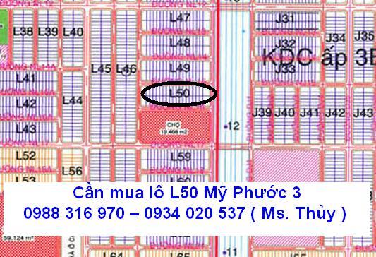Cần mua lô L50 Mỹ Phước 3 giá cao gần chợ