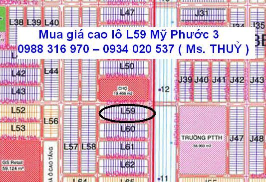 Mua giá cao lô L59 Mỹ Phước 3 mặt tiền đường 16m